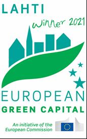 Kuvassa Lahti Winner2021 European Green Capital -logo